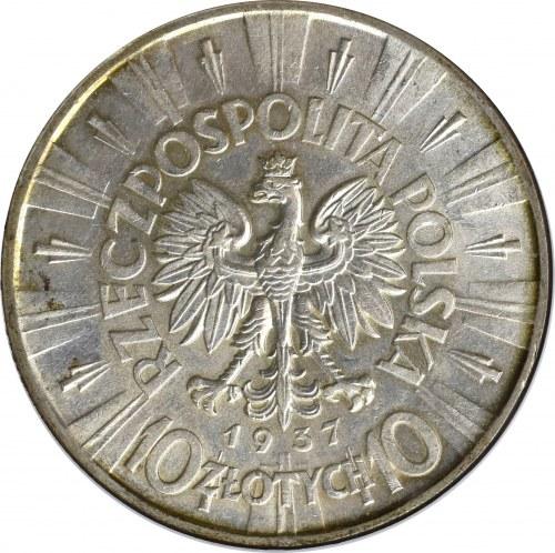 II Rzeczpospolita, 10 złotych 1937, Piłsudski - GCN MS64
