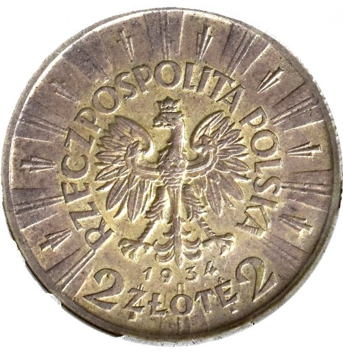 II Rzeczpospolita, 2 złote 1934, Piłsudski - GCN AU58