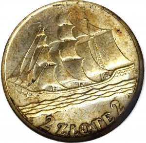 II Rzeczpospolita, 2 złote 1936, Okręt - GCN MS64