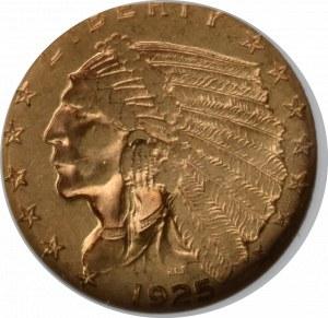 USA, 2 1/2 dolara 1925 - GCN XF45+