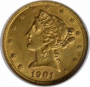 USA, 5 dolarów 1901 S - GCN AU58