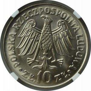 PRL, 10 Złotych 1964 Kazimierz Wielki, wklęsły napis - NGC MS65