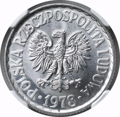 PRL, 1 złoty 1978 Bez znaku - NGC MS66