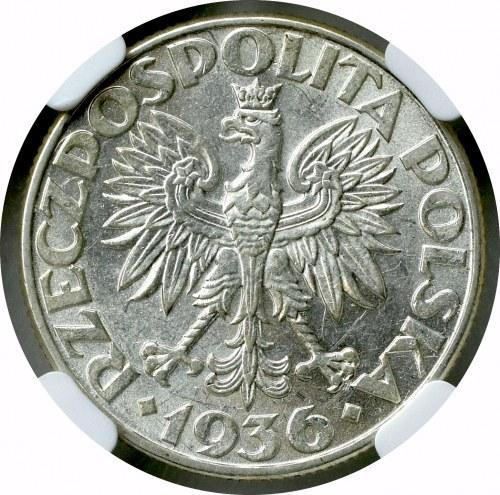 II Rzeczpospolita, 2 złote 1936 Okręt - NGC AU 58