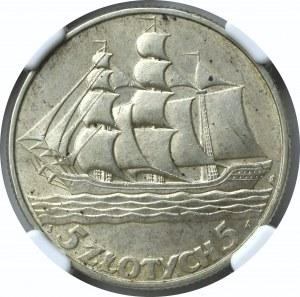 II Rzeczpospolita, 5 złotych 1936 Okręt - NGC AU58