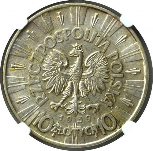 II Rzeczpospolita, 10 Złotych 1939 Piłsudski - NGC MS63