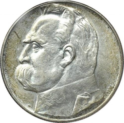 II Rzeczpospolita, 10 złotych 1934 Piłsudski Orzeł Strzelecki - PCGS AU55