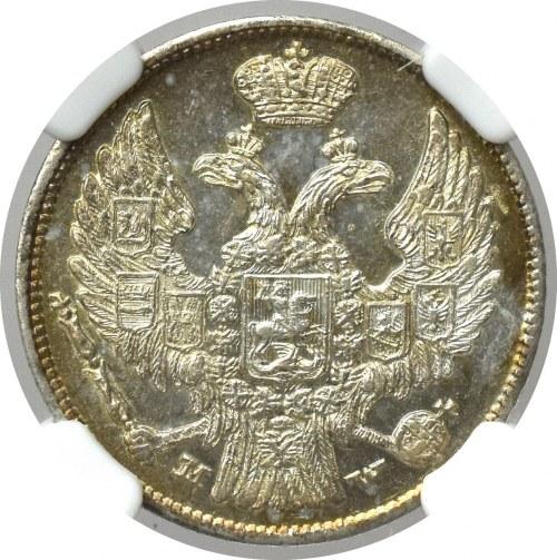 Zabór rosyjski, 15 kopiejek-1 złoty 1837 MW - NGC MS63