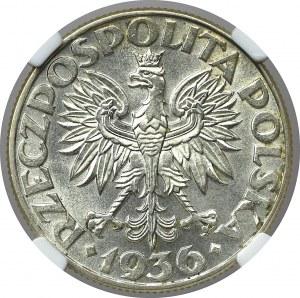II Rzeczpospolita, 2 złote 1936, Okręt - NGC MS65+