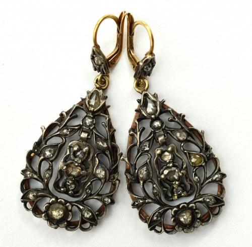 Kolczyki florystyczne - złoto i srebro - Rosja carska