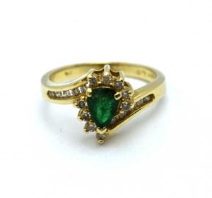 Pierścionek - diamenty i szmaragd