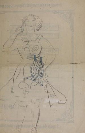 Wlastimil Hofman (1881-1970), Postać śmiejącej się dziewczyny – szkic, [ok. 1908]