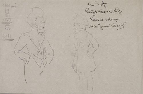 Karol Kossak (1896-1975), Szkice postaci męskich – popiersie w surducie, mężczyzna stojący w surducie i bikornie, [1922]