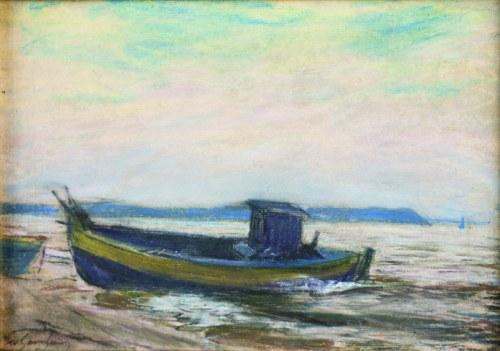 Władysław Serafin (1905-1988), Kuter rybacki na brzegu