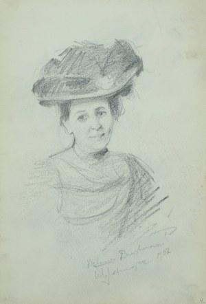 Włodzimierz Tetmajer (1861 – 1923), Portret młodej kobiety w kapeluszu – szkic, [1907]