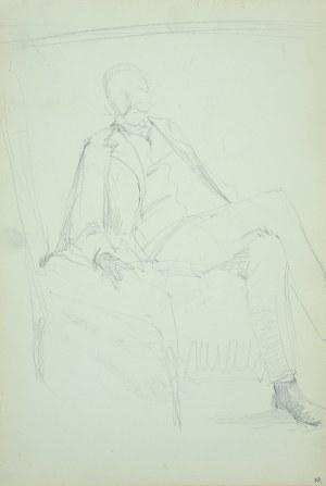 Włodzimierz Tetmajer (1861 – 1923), Portret mężczyzny siedzącego w fotelu - szkic, ok. 1900