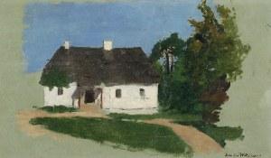 Stanisław WITKIEWICZ (1851-1915), Studium pejzażowe z chatą i drzewami, lata 70. - 80. XIX w.