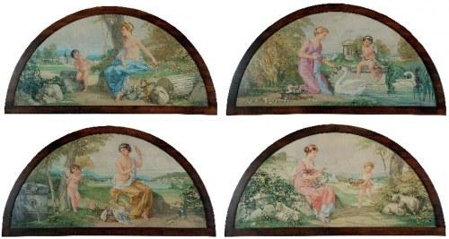 Raimund GERMELA (1868-1945), Zestaw 4 malowideł dekoracyjnych z historią Amora, 1915
