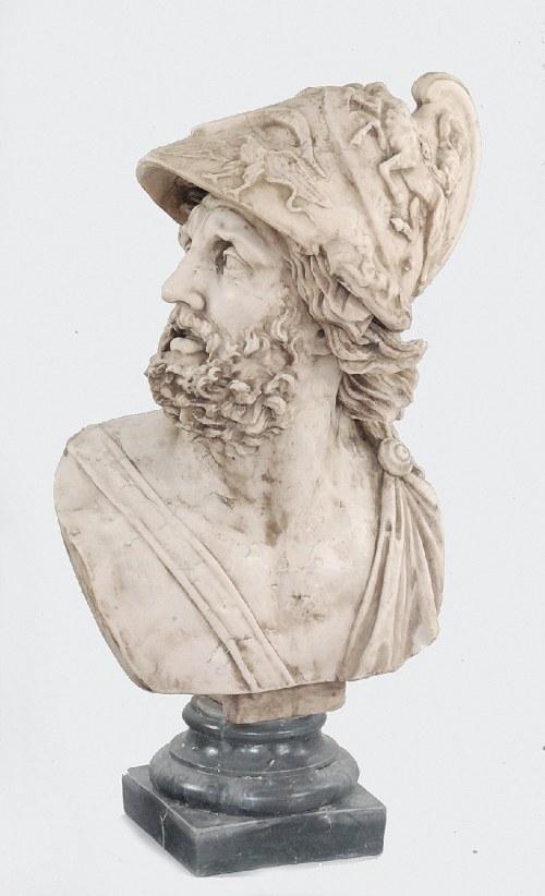 Popiersie antycznego wojownika w greckim hełmie