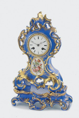Zegar konsolowy przyścienny z podstawą, szafirowy, z dekoracją kwiatową