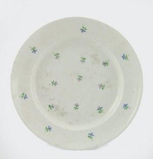 Manufaktura porcelany w Baranówce, Talerz serwisowy płytki, z dekoracją rzutem chaberków