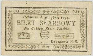 Insurekcja Kościuszkowska, 4 złote 04.09.1794, Seria 2-G