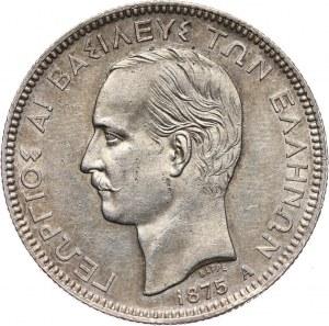 Grecja, Jerzy I, 5 drachm 1875 A, Paryż