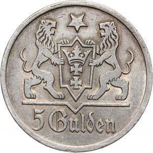 Wolne Miasto Gdańsk, 5 guldenów 1927, Berlin, Kościół Marii Panny