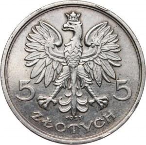 II RP, 5 złotych 1927, Nike, srebro, bez napisu PRÓBA i z gładkim rantem bez napisu