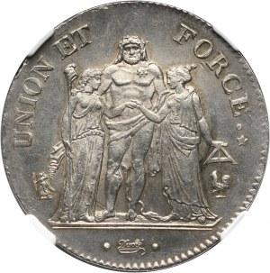 Francja, Republika, 5 franków L' AN 11 A, Paryż