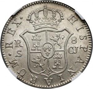 Hiszpania, Ferdynand VII, 8 reali 1818 S CJ, Sewilla