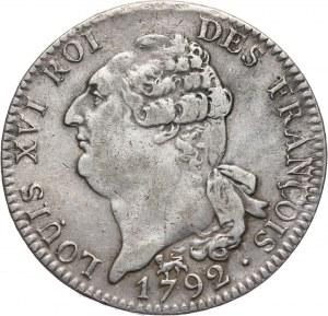 France, Louis XVI, Ecu (6 Livres) 1792 A, Paris