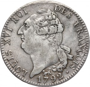 Francja, Ludwik XVI, écu (6 livres) 1792 A, Paryż