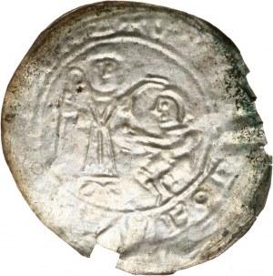 Bolesław III Krzywousty 1107-1138, brakteat protekcyjny, św. Wojciech na wprost