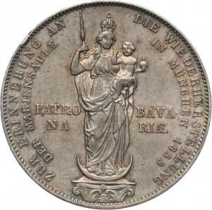 Niemcy, Bawaria, Maksymilian II Józef, 2 guldeny 1855, Monachium, Pomnik Matki Boskiej