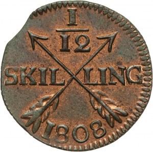 Szwecja, Gustaw IV Adolf, 1/12 skilling 1808, Sztokholm