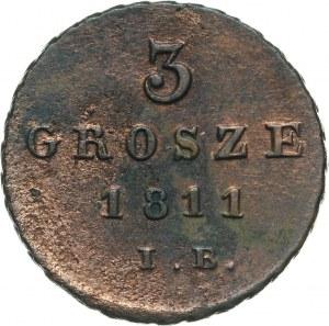 Księstwo Warszawskie, Fryderyk August I, 3 grosze 1811 IB, Warszawa