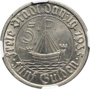 Wolne Miasto Gdańsk, 5 guldenów 1935, Berlin, koga