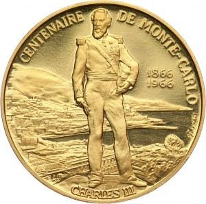 Monako, Rainier III, medal w złocie z 1966 roku, 100-lecie Monte Carlo