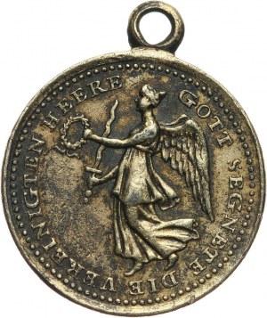 XIX wiek, Gdańsk, medalik z uszkiem z 1814 roku, zdobycie Gdańska przez Aleksandra Wirtemberskiego, 2 stycznia 1814 roku