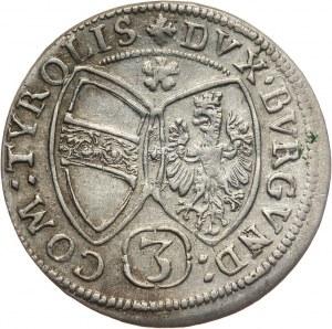 Austria, arcyksiążę Ferdynand Karol, 3 krajcary 1655, Hall