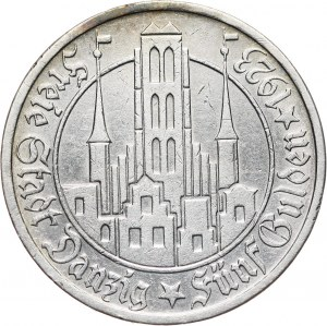 Wolne Miasto Gdańsk, 5 guldenów 1923, Utrecht, Kościół Marii Panny