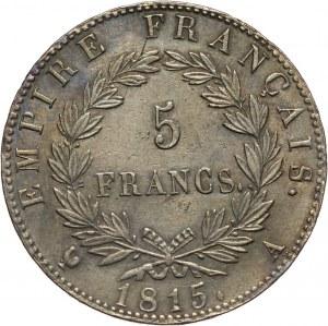 Francja, Napoleon I, 5 franków 1815 A, Paryż, 100 Dni Napoleona