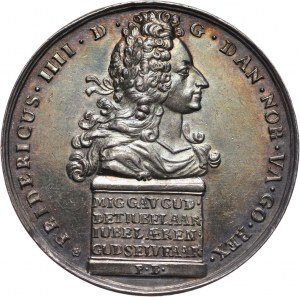 Dania, Fryderyk IV (1699-1730), medal w srebrze z 1717 roku, 200-lecie Reformacji