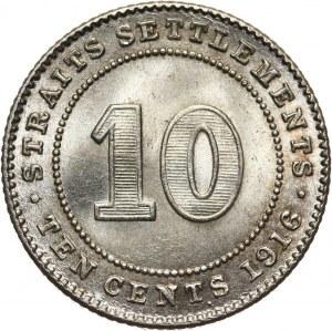 Straits Settlements, Jerzy V, 10 centów 1916
