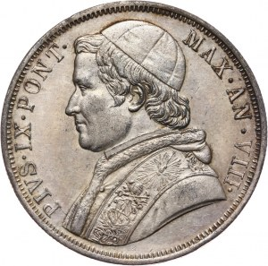 Watykan, Pius IX, scudo 1853-VIII R, Rzym