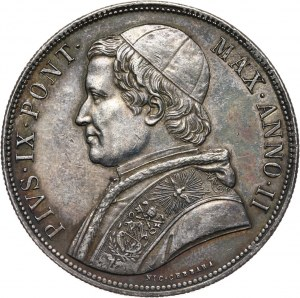 Watykan, Pius IX, scudo 1847-II R, Rzym