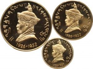 Bhutan, Jigme Dorji Wangchuk, zestaw 3 złotych monet z 1966 roku, stempel lustrzany