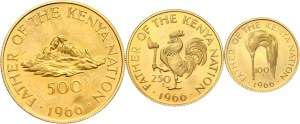 Kenia, zestaw 3 złotych monet z 1966 roku, stempel lustrzany, Prezydent Jomo Kenyatta