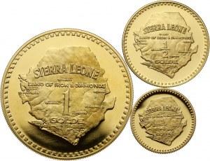 Sierra Leone, zestaw 3 złotych monet z 1966 roku, Niepodległość